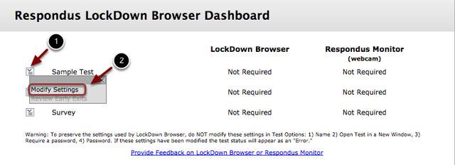 Image of the Respondus Lockdown Browser Dashboard with an arrow pointing to the button to the left of a test name. A menu is open with Modify Instructons outlined with a red circle.