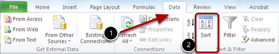 Image of the Data Ribbon in Excel with an arrow pointing to the Sort button.