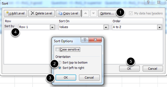 Image of the Sort dialog box with the following annotations: 1.In the Sort dialog box, click the Options button.  The Sort Options box will appear.2.Change the selection to Sort Left to Right.3.Click OK.  You will be taken back to the main Sort dialog Box.4.Under the option labeled Sort by, Select Row 1 from the drop down menu.  Leave the other menus as they are.5.When you are finished, click OK. The data will now be sorted from left to right.