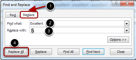 Image of the Find and Replace dialog box with the following annotations: 1.Click on the Replace Tab2.Enter the text in the spreadsheet you wish to replace3.Enter the replacement value4.Click Replace All
