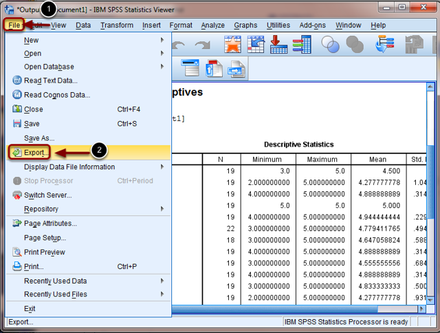 Image of the File menu in SPSS with the following annotations: To export the data, click on (1) File and select (2) Export.