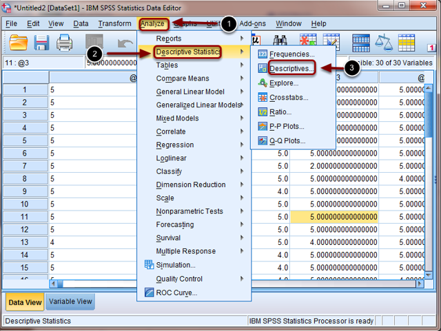 Image of SPSS with the analyze menu open with the following annotations: 1.Select Analyze from the menu bar.2.Select Descriptive Statistics3.Select Descriptives