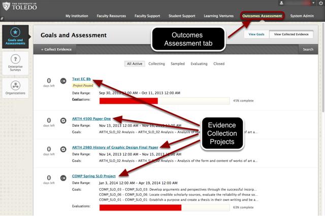 Outcomes Assessment System (screenshot)