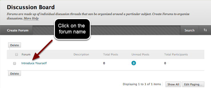 Image of the Discussion Board forum list with an arrow pointing to a forum name with instructions to click on the forum name.
