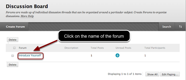 Image of the discussion board screen with an arrow pointing to a forum name highlighed in a red circle with instructions to click on the forum name.
