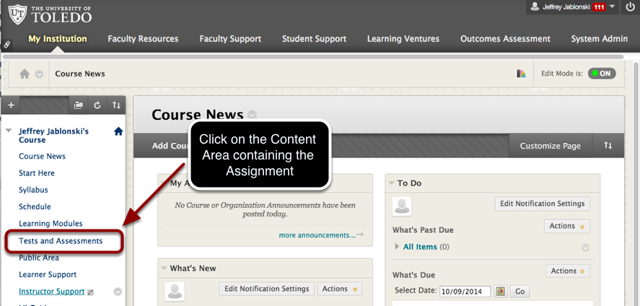 Step 2 - Select the Content Area Containing the Appropriate Assignment