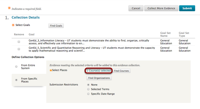 Define Collection Options now shows the number of Selected Courses