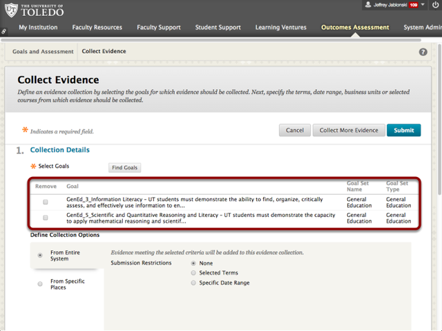 Collect Evidence page with Goals displayed