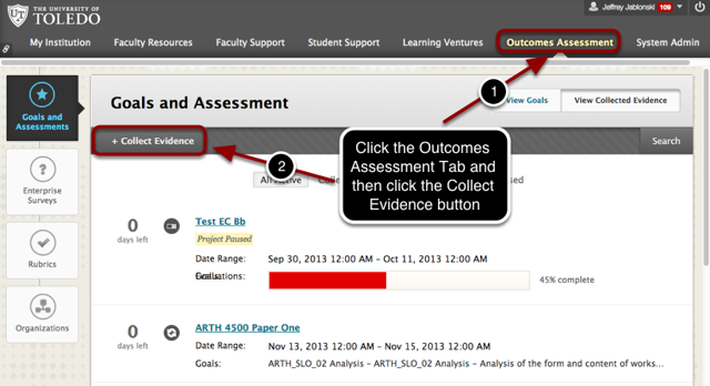 Step 1 - Access the Outcomes Assessment Tab