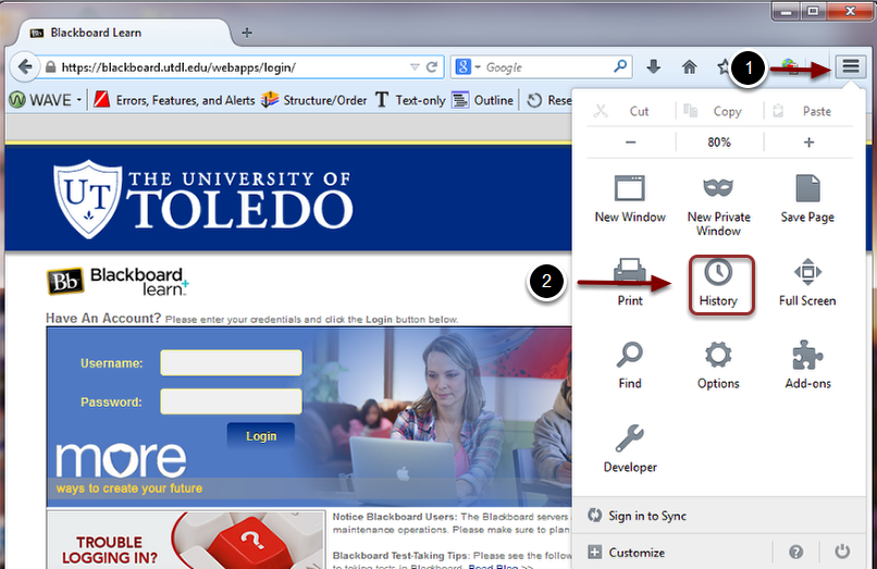 Image of the Mozilla Firefox web browser with the following annotations: 1.Click on the Open Menu button (the button with the three horizontal lines) on the right edge of the screen by the address bar.2.Click on the History icon (with the clock) in the menu that appears.