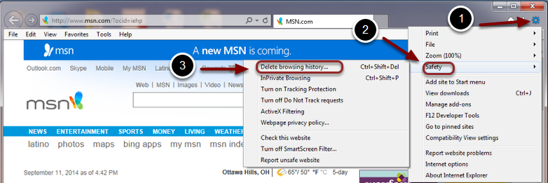 Image of the Internet Explorer browser with the following annotations: 1.Click on the Settings button (that looks like a cog or gear) in the upper right hand corner of the browser window.2.Select Safety from the menu.3.Select Delete Browsing History that appears as a submenu.