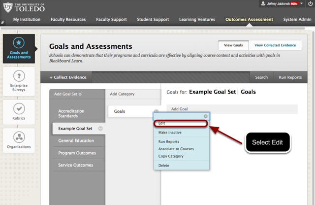 Editing the Default Goal Category