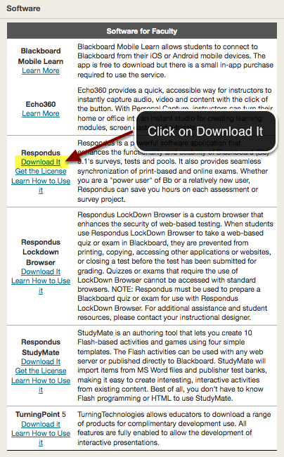 Image of the box labeled software with the link labeled Download it highlighted in yellow under Respondus with an arrow pointing to it, with a text bubble reading click on Download It.