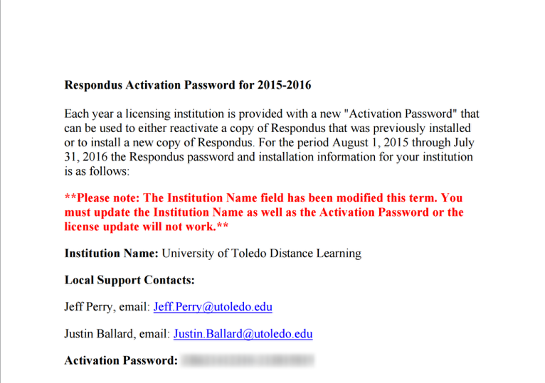Image of the Respondus Licensing Documentation page.