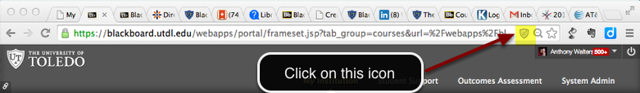 Image of the address bar in Google Chrome, with an arrow pointing to the security shield button on the right side of the address bar.  Instructions indicate to click on this icon