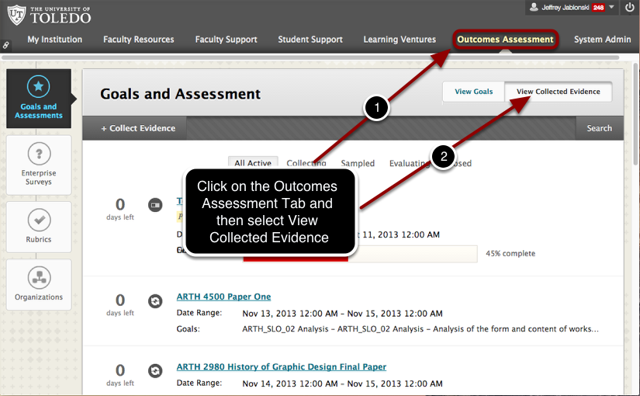 Step 1 - View the Evidence Collection Page