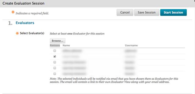 Create Evaluation Session - Showing Evaluators