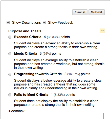 Select the Appropriate Levels of Achievement and Provide Feedback for Each Criterion