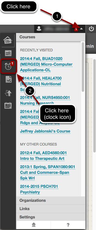 Access Evaluator Notification in Blackboard Update Area