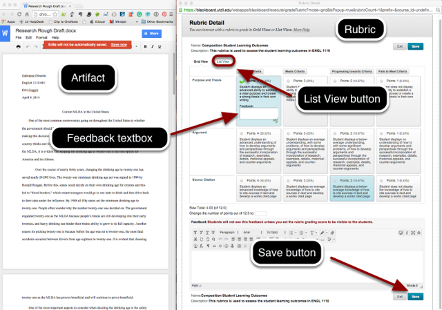 Artifact and Rubric Windows Displayed Side-by-Side