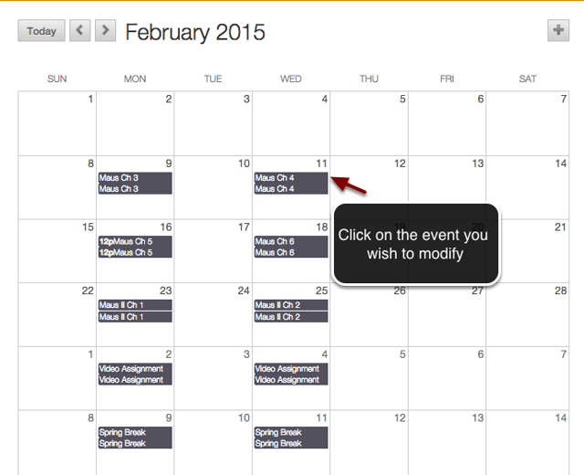 Image of the Blackboard calendar with an arrow pointing to an event with instructions to click on the event you wish to modify.
