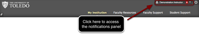 Image of the upper frame of the Blackboard window with the user's name outlined with a red circle with instructions to click here to access the notifications panel