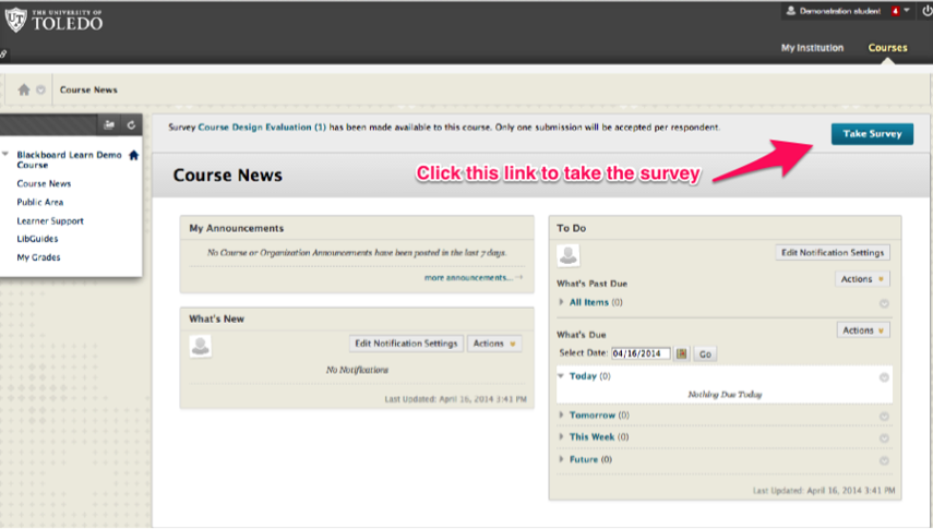 Image of a Blackboard course homepage showing a link to an enterprise survey with an arrow pointing to the Take Survey button