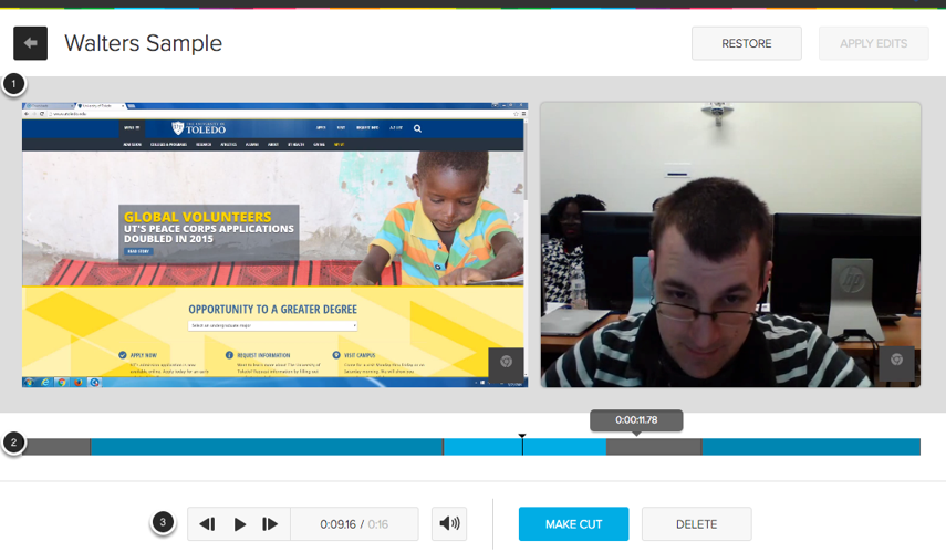 Image of the video editor showing the following items: 1. Video content. 2. Fimstrip editor. 3: video playback tools.