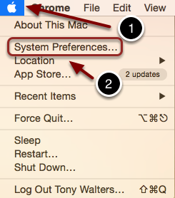 Image of the Apple System menu with a number 1 in a circle and a red arrow poining to the Apple logo in the upper left corner of the screen. In the menu, the option System Preferences is highlighted with a red rectange, and a number 2 and an arrow are pointing to the outlined word.