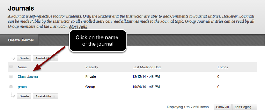 Image of the journals page, with an arrow pointing to a journal name with instructions to click on the journal name.