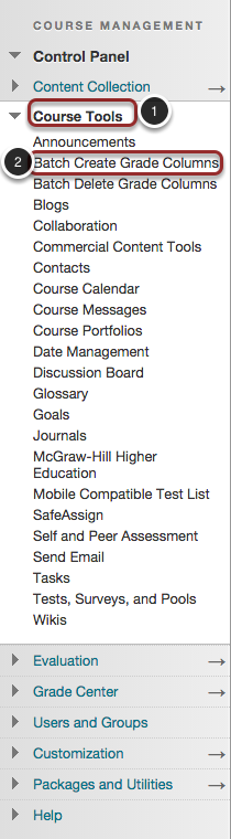 Image of the Control Panel in Blackboard showing the Course Tools option highlighed in a red circle with a number 1 to the left of it. The Course Tools section is expanded to show the Batch Create Grade Columns tool highlighted with a red circle and a number 2 to the left of it.