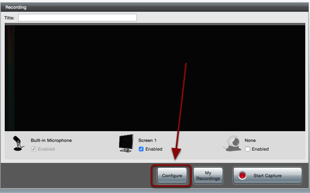 The software screen with a red box around the Configure button
