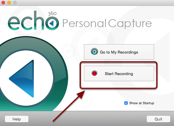 The software welcome screen with a red box around the Start Recording button