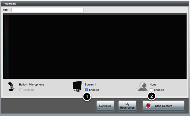 The software screen with Screen 1 marked and the webcam marked