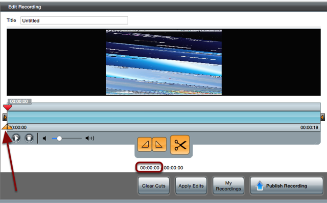 The Edit Recording screen with a red arrow pointing to the first triangle and a red box around the first time stamp