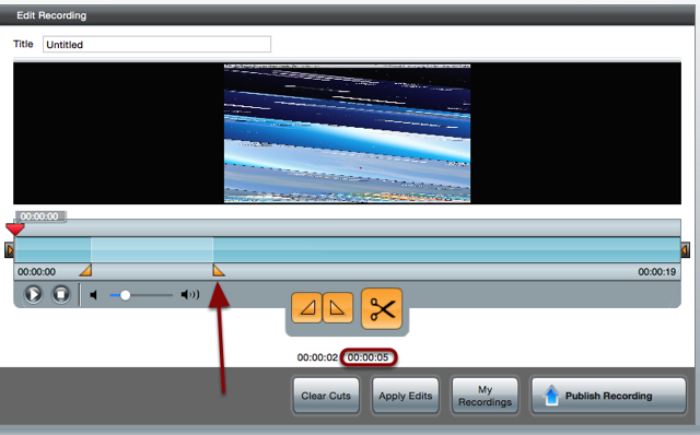 The Edit Recording screen with a red arrow pointing to the second triangle and a red circle around the second time stamp