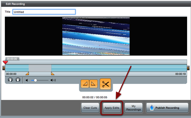 The Edit Recording screen with a red box around the Apply Edits button