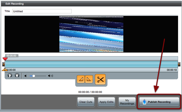 The Edit Recording screen with a red box around the Publish Recording button