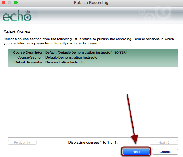 The Publish screen with a list of courses to which the user can select to publish and a red box around the Next button