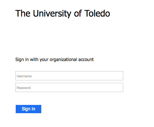 Entering your UTAD Credentials
