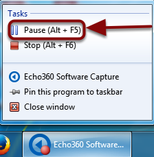 The Pause Capture selection highlighted