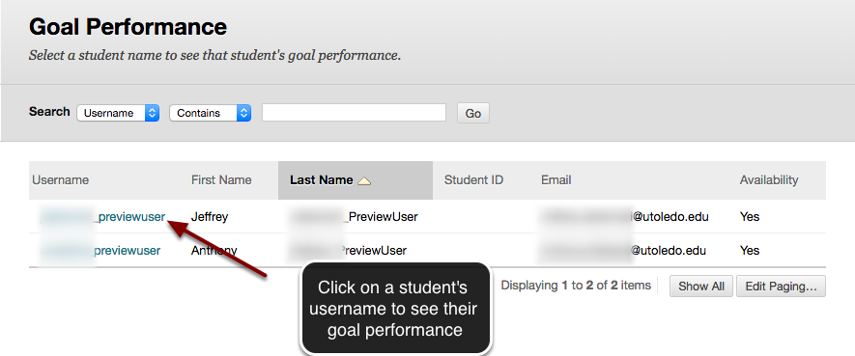 Image of the Goal Performanc screen showing a list of students. An arrow is pointing to students' usernames with instructions to click on a student's username to see their goal performance.