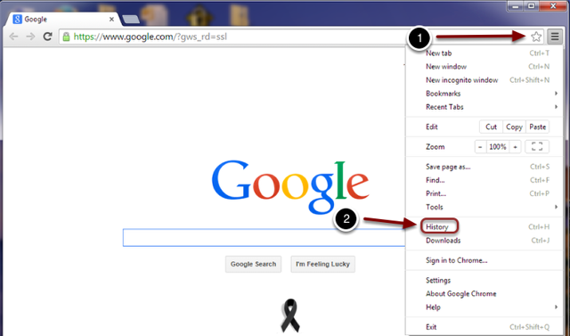 Image of a browser window in Google Chrome with the following annotations: 1.Click on the Customize and Control Google Chrome button (the button with the three horizontal lines).2.Select History from the menu that appears.