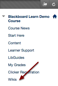 Image of a Blackboard course menu showing the link to the wikis.