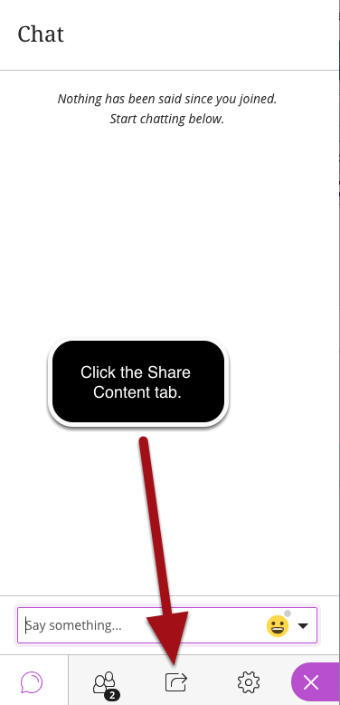 Open the Share Content Tab