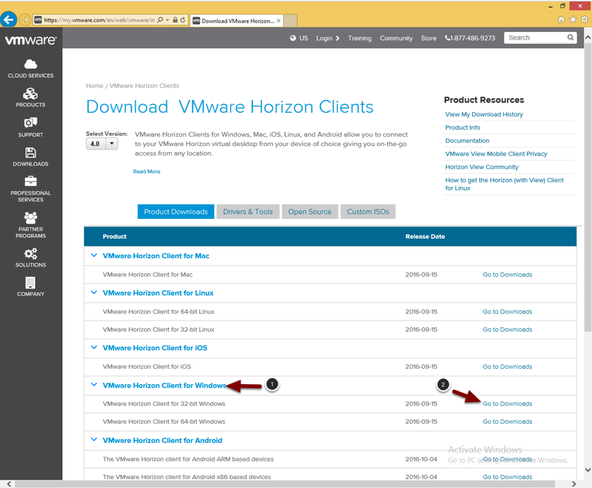 Downloading the VMware Horizon Client, Part 1