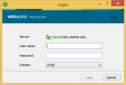 Image showing the login screen with fields for the username and password.