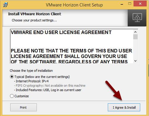 Image of the license agreement screen with an arrow pointing to the I Agree and Install button in the bottom right corner.