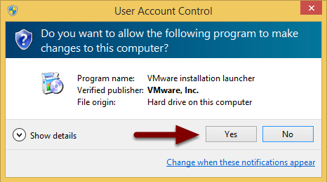 Image of the Permission dialog box with an arrow pointing to the Yes button.