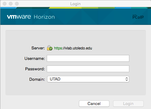 Image of the VMware Horizon login screen showing the username and password fields